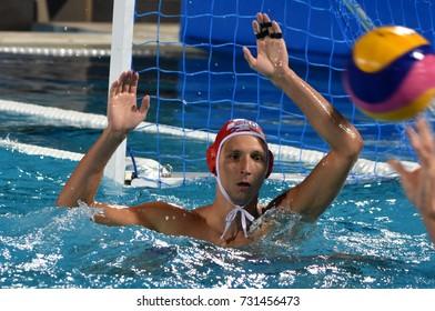 Budapest, Hungary - Jul 25, 2017. BIJAC Marko, goalkeeper of the Croatia team. FINA Waterpolo World Championship was held in Alfred Hajos Swimming Centre in 2017.