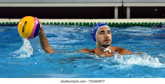 Budapest, Hungary - Jul 25, 2017. di FULVIO Francesco, player of the Italy team. FINA Waterpolo World Championship was held in Alfred Hajos Swimming Centre in 2017.