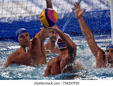 Budapest, Hungary - Jul 25, 2017. Croatian men waterpolo team plays against Italy in the Quaterfinal. FINA Waterpolo World Championship was held in Alfred Hajos Swimming Centre in 2017.