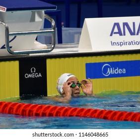 Budapest, Hungary - Jul 26, 2017. Competitive swimmer JOO Sara (HUN) swimming 50m backstroke. FINA Swimming World Championship Preliminary Heats in Duna Arena.