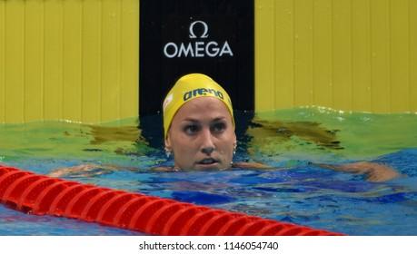 Budapest, Hungary - Jul 26, 2017. Competitive swimmer LINDBORG Ida (SWE) swimming 50m backstroke. FINA Swimming World Championship Preliminary Heats in Duna Arena.