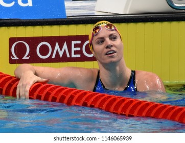 Budapest, Hungary - Jul 26, 2017. Competitive swimmer SEEBOHM Emily (AUS) swimming 50m backstroke. FINA Swimming World Championship Preliminary Heats in Duna Arena.