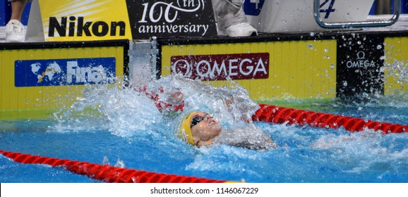 Budapest, Hungary - Jul 26, 2017. Competitive swimmer BARRATT Holly (AUS) swimming 50m backstroke. FINA Swimming World Championship Preliminary Heats in Duna Arena.
