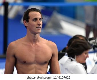 Budapest, Hungary - Jul 26, 2017. Competitive swimmer MCEVOY Cameron (AUS) swimming 100m freestyle. FINA Swimming World Championship Preliminary Heats in Duna Arena.