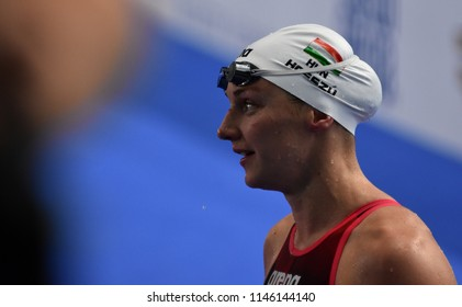 Budapest, Hungary - Jul 26, 2017. Competitive swimmer HOSSZU Katinka (HUN) swimming 200m butterfly. FINA Swimming World Championship Preliminary Heats in Duna Arena.