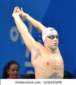 Budapest, Hungary - Jul 26, 2017. Competitive swimmer SOS Daniel (HUN) swimming 200m individual medley. FINA Swimming World Championship Preliminary Heats in Duna Arena.