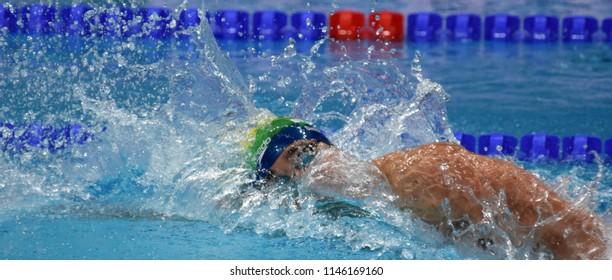 Budapest, Hungary - Jul 26, 2017. Competitive swimmer SIMON Thiago (BRA) swimming 200m individual medley. FINA Swimming World Championship Preliminary Heats in Duna Arena.