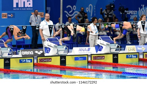 Budapest, Hungary - Jul 26, 2017. SETO Daiya (JPN), LEWIS Clyde (AUS)  and STACCHIOTTI Raphael (LUX) swimming 200m individual medley. FINA Swimming World Championship Preliminary Heats in Duna Arena.