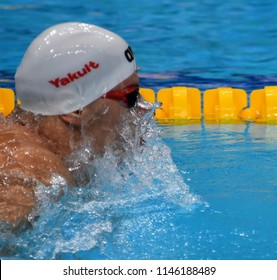 Budapest, Hungary - Jul 26, 2017. Competitive swimmer GYURTA Daniel (HUN) swimming in the Mixed 4x100m Medley Relay. FINA Swimming World Championship Preliminary Heats in Duna Arena.
