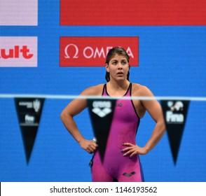 Budapest, Hungary - Jul 26, 2017. Competitive swimmer SZILAGYI Liliana (HUN) swimming in the Mixed 4x100m Medley Relay. FINA Swimming World Championship Preliminary Heats in Duna Arena.