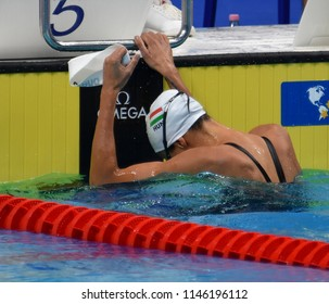 Budapest, Hungary - Jul 26, 2017. Competitive swimmer JAKABOS Zsuzsanna (HUN) swimming in the Mixed 4x100m Medley Relay. FINA Swimming World Championship Preliminary Heats in Duna Arena.