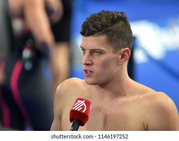 Budapest, Hungary - Jul 26, 2017. Competitive swimmer GYURTA Daniel (HUN) after the Mixed 4x100m Medley Relay. FINA Swimming World Championship Preliminary Heats in Duna Arena.