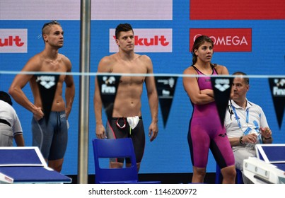 Budapest, Hungary - Jul 26, 2017. Team Hungary (BALOG Gabor, GYURTA Daniel, SZILAGYI Liliana) in the Mixed 4x100m Medley Relay. FINA Swimming World Championship Preliminary Heats in Duna Arena.