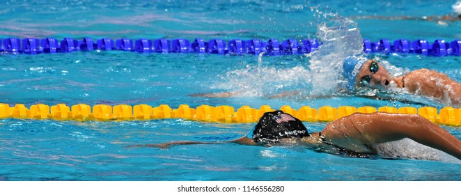Budapest, Hungary - Jul 26, 2017. Competitive swimmer LEDECKY Katie (USA) in the 200m Freestyle Final. FINA Swimming World Championship was held in Duna Arena.