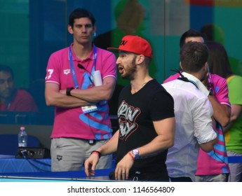 Budapest, Hungary - Jul 26, 2017. Shane TUSUP (USA) coach of Katinka HOSSZU (HUN) in the 200m Freestyle Final. FINA Swimming World Championship was held in Duna Arena.
