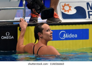 Budapest, Hungary - Jul 26, 2017. Competitive swimmer PELLEGRINI Federica (ITA) in the 200m Freestyle Final. FINA Swimming World Championship was held in Duna Arena.