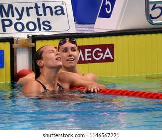 Budapest, Hungary - Jul 26, 2017. Competitive swimmer PELLEGRINI Federica (ITA) and MCKEON Emma (AUS) in the 200m Freestyle Final. FINA Swimming World Championship was held in Duna Arena.