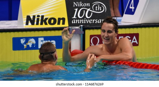 Budapest, Hungary - Jul 26, 2017. Competitive swimmer MCEVOY Cameron (AUS) and DRESSEL Caeleb Remel (USA) in the 100m freestyle Semifinal. FINA Swimming World Championship was held in Duna Arena.
