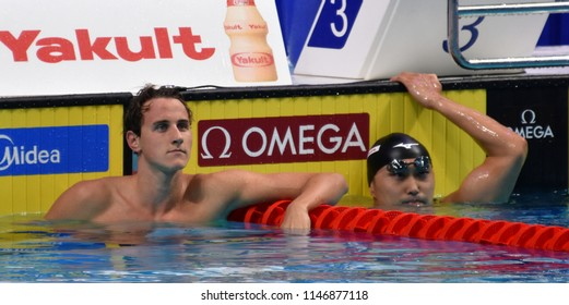 Budapest, Hungary - Jul 26, 2017. Competitive swimmer MCEVOY Cameron (AUS) and SHIOURA Shinri (JPN) in the 100m freestyle Semifinal. FINA Swimming World Championship was held in Duna Arena.