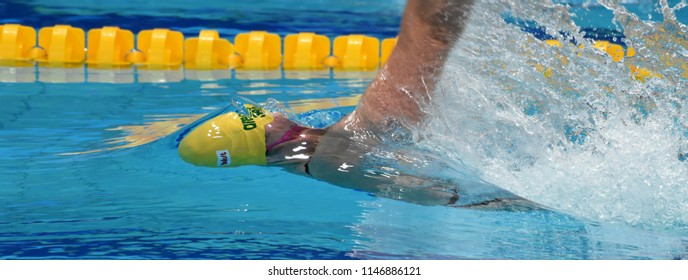 Budapest, Hungary - Jul 26, 2017. Competitive swimmer SEEBOHM Emily (AUS) in the 50m backstroke Semifinal. FINA Swimming World Championship was held in Duna Arena.