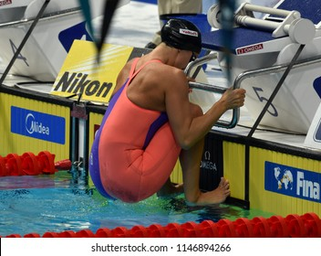 Budapest, Hungary - Jul 26, 2017. Competitive swimmer DAVIES Georgia (GBR) in the 50m backstroke Semifinal. FINA Swimming World Championship was held in Duna Arena.