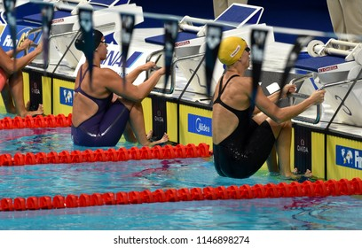Budapest, Hungary - Jul 26, 2017. Competitive swimmer BAKER Kathleen (USA) and BARRATT Holly (AUS) in the 50m backstroke Semifinal. FINA Swimming World Championship was held in Duna Arena.