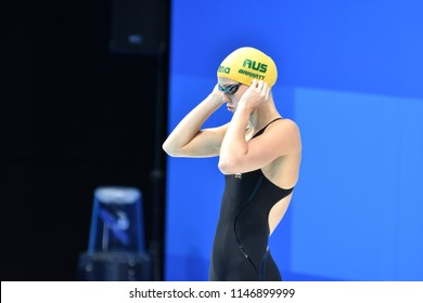 Budapest, Hungary - Jul 26, 2017. Competitive swimmer BARRATT Holly (AUS) in the 50m backstroke Semifinal. FINA Swimming World Championship was held in Duna Arena.