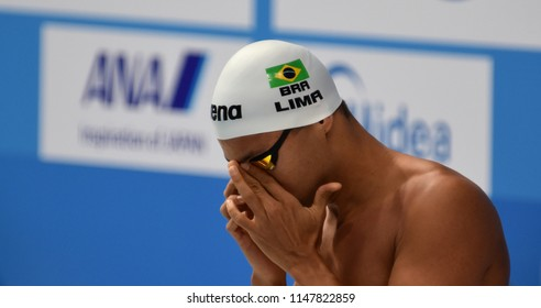 Budapest, Hungary - Jul 26, 2017. Competitive swimmer LIMA Felipe (BRA) in the 50m breaststroke Final. FINA Swimming World Championship was held in Duna Arena.