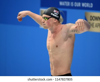 Budapest, Hungary - Jul 26, 2017. Competitive swimmer PEATY Adam  (GBR) in the 50m breaststroke Final. FINA Swimming World Championship was held in Duna Arena.