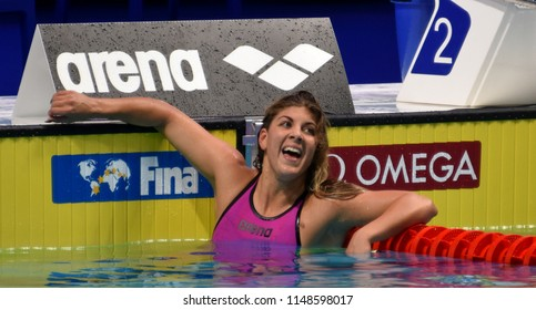 Budapest, Hungary - Jul 26, 2017. Competitive swimmer SZILAGYI Liliana (HUN) in the 200m butterfly Semifinal. FINA Swimming World Championship was held in Duna Arena.