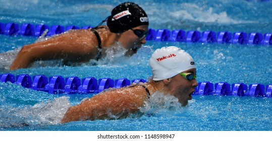 Budapest, Hungary - Jul 26, 2017. Competitive swimmer SZILAGYI Liliana (HUN) and PIROZZI Stefania (ITA) in the 200m butterfly Semifinal. FINA Swimming World Championship was held in Duna Arena.