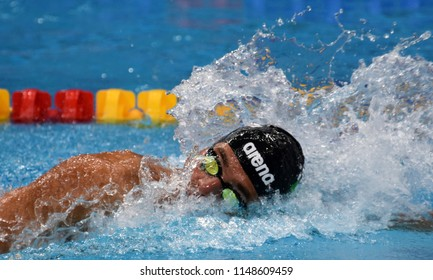 Budapest, Hungary - Jul 26, 2017. Competitive swimmer PALTRINIERI Gregorio (ITA) in the 800m freestyle Final. FINA Swimming World Championship was held in Duna Arena.