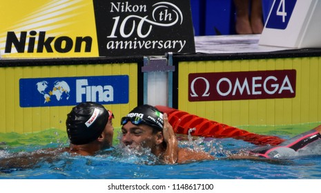 Budapest, Hungary - Jul 26, 2017. Competitive swimmer PALTRINIERI Gregorio (ITA) and DETTI Gabriele (ITA) after the 800m freestyle Final. FINA Swimming World Championship was held in Duna Arena.