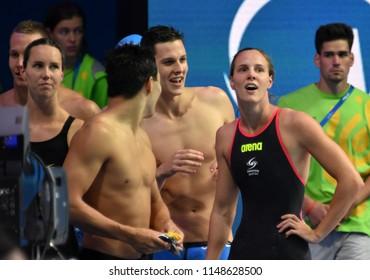 Budapest, Hungary - Jul 26, 2017. Team  Australia (LARKIN Mitchell, CAVE Daniel, MCKEON Emma, CAMPBELL Bronte) in the Mixed 4x100m Medley Relay Final. FINA Swimming World Championship.