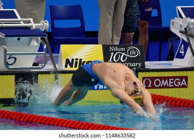 Budapest, Hungary - Jul 26, 2017. Competitive swimmer LARKIN Mitchell (AUS) in the Mixed 4x100m Medley Relay Final. FINA Swimming World Championship was held in Duna Arena.