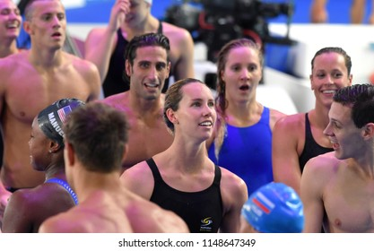Budapest, Hungary - Jul 26, 2017. Competitive swimmer MCKEON Emma (AUS) and LARKIN Mitchell (AUS) after the Mixed 4x100m Medley Relay Final. FINA Swimming World Championship was held in Duna Arena.