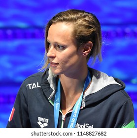 Budapest, Hungary - Jul 26, 2017. Competitive swimmer PELLEGRINI Federica (ITA) at the Victory Ceremony of the Women's 200m Freestyle. FINA Swimming World Championship was held in Duna Arena.