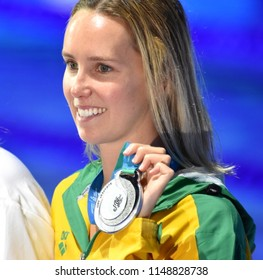 Budapest, Hungary - Jul 26, 2017. Competitive swimmer MCKEON Emma (AUS) at the Victory Ceremony of the Women's 200m Freestyle. FINA Swimming World Championship was held in Duna Arena.