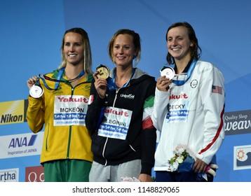 Budapest, Hungary - Jul 26, 2017. MCKEON Emma (AUS), LEDECKY Katie (USA) and winner PELLEGRINI Federica (ITA) at the Victory Ceremony of the Women's 200m Freestyle. FINA Swimming World Championship.