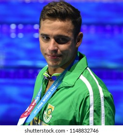 Budapest, Hungary - Jul 26, 2017. Competitive swimmer LE CLOS Chad (RSA) at the Victory Ceremony of the Men's 200m Butterfly. FINA Swimming World Championship was held in Duna Arena.