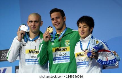 Budapest, Hungary - Jul 26, 2017. CSEH Laszlo (HUN), the winner LE CLOS Chad (RSA) and SETO Daiya (JPN) at the Victory Ceremony of the Men's 200m Butterfly. FINA Swimming World Championship.