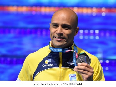 Budapest, Hungary - Jul 26, 2017. Competitive swimmer GOMES JUNIOR Joao (BRA) at the Victory Ceremony of the Men's 50m breaststroke. FINA Swimming World Championship was held in Duna Arena.