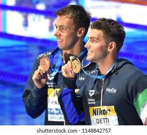 Budapest, Hungary - Jul 26, 2017. PALTRINIERI Gregorio (ITA) and the winner DETTI Gabriele (ITA) at the Victory Ceremony of the Men's 800m freestyle. FINA Swimming World Championship.