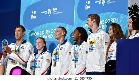 Budapest, Hungary - Jul 26, 2017. World recorder team USA (GREVERS Matt, KING Lilly, DRESSEL Caeleb Remel, MANUEL Simone) in the Mixed 4x100m Medley Relay Final. Fina Swimming World Championship.