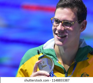 Budapest, Hungary - Jul 26, 2017. Competitive swimmer LARKIN Mitchell (AUS) at the Victory Ceremony of Mixed 4x100m Medley Relay Final. Fina Swimming World Championship.