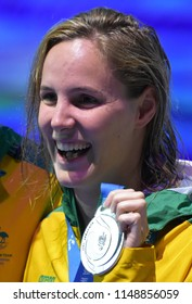 Budapest, Hungary - Jul 26, 2017. Competitive swimmer CAMPBELL Bronte (AUS) at the Victory Ceremony of Mixed 4x100m Medley Relay Final. Fina Swimming World Championship.