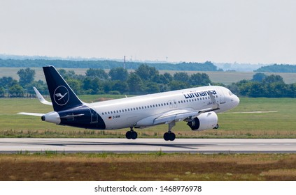 Budapest Hungary Jul 26 2019: Lufthansa Airline Airbus 321 D-AINK just landing at Budapest International airport.