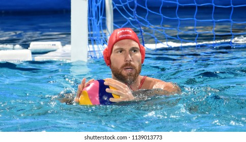 Budapest, Hungary - Jul 27, 2017. NAGY Viktor (1) hungarian waterpolo goalkeeper in the Semifinal. FINA Waterpolo World Championship was held in Alfred Hajos Swimming Centre in 2017.