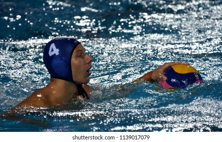 Budapest, Hungary - Jul 27, 2017. ZALANKI Gergo (4) hungarian waterpolo player in the Semifinal. FINA Waterpolo World Championship was held in Alfred Hajos Swimming Centre in 2017.