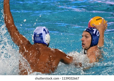 Budapest, Hungary - Jul 27, 2017.  VARGA Denes (10) hungarian waterpolo player in the Semifinal. FINA Waterpolo World Championship was held in Alfred Hajos Swimming Centre in 2017.